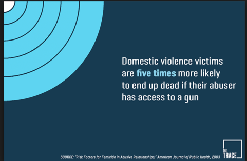 White text on blue field: Text: Domestic violence victims are five times more likely to end up dead if their abuser has access to a gun. Source: Risk Factors for Femicide in Abusive Relationships American Journal of Public Health 2003